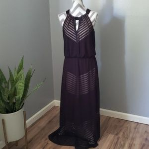 London Times Black and Nude Maxi Dress